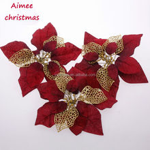 2014 Yiwu Aimee supplies wholesale artificial poinsettia flowers,christmas tree decoration poinsettia (AM-LJ01)