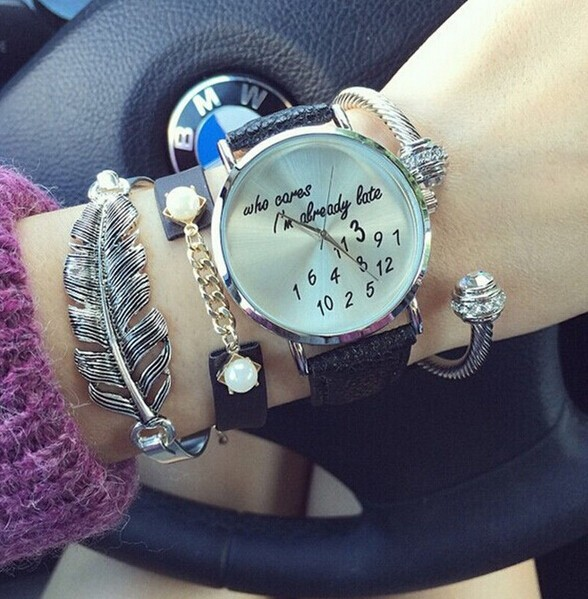 Hot Fashion Funny Comment Women Fashion Leather Wrist Watch