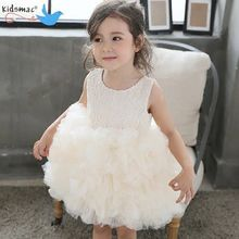 One Piece New Hot Sale Party Baby Birthday Gowns 1 year old Age New Born Wedding Fluffy Creamy Flowerl Girl Dresses Wholesale
