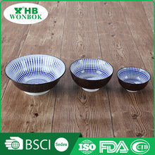 Hot selling round blue spot ceramic soup bowl for home or restaurant