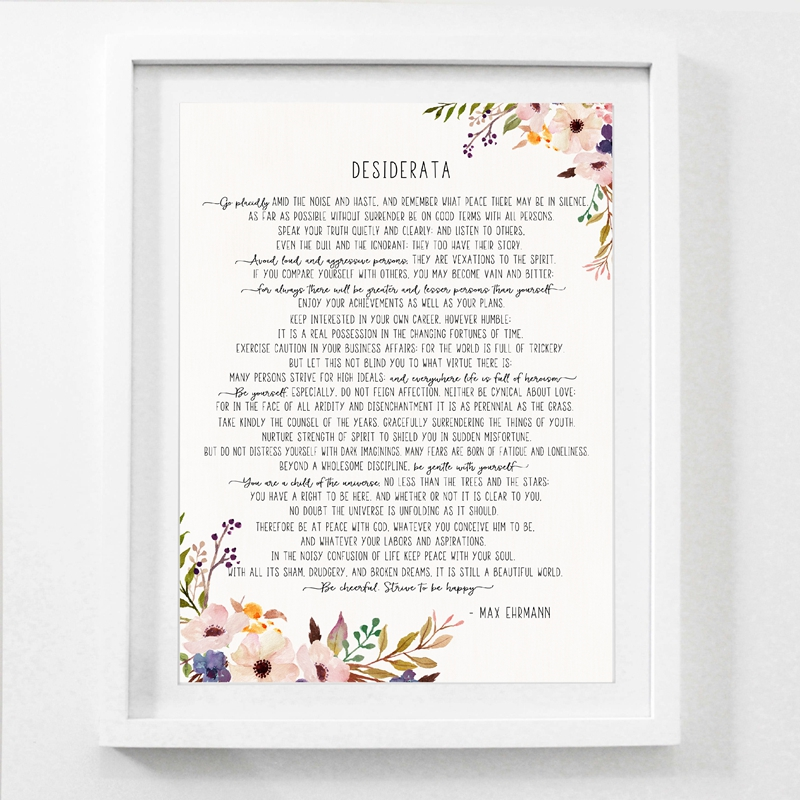 photo about The Desiderata Poem Printable identified as Max Ehrmann Poem - Desiderata Artwork Poster Canvas Portray Prints , Motivational Literary Poster Modernist Household Business office Wall Artwork