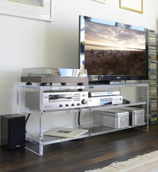 Good Luxury Clear Acrylic Media Console Tv Table With 3 Shelves