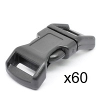 "LIHAO 60 PCS 1/2"" Black Plastic Side Release Buckle for Paracord Bracelets (High Quality)"