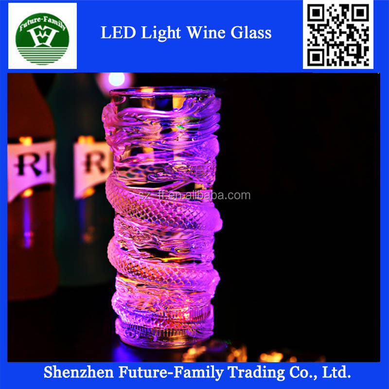 Wholesale Led Flashing Martini Glass with Long Spiral Stem