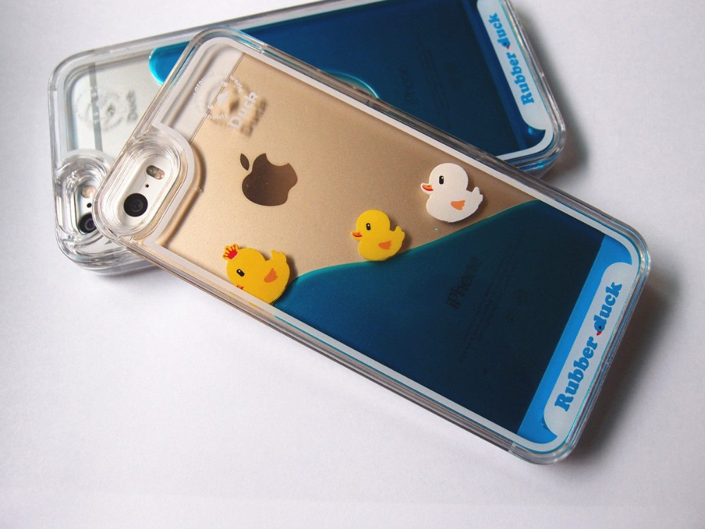 Fashion design 3d liquid rubber duck fish dolphin swimming floating phone case for iphone 6/6pluse/5s/5/4s/4 for Samsung