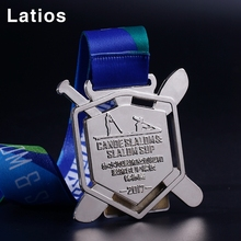 Customized 3D front side 2D enamel backside sports custom medallion trophies with ribbon