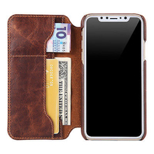 Oil Wax Book Leather Case Cover Vintage Genuine Leather Wallet for iPhone 6 7 8 Plus