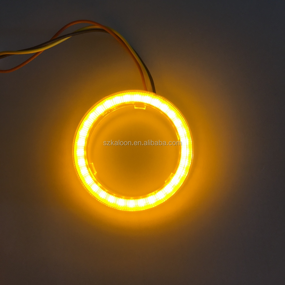 dual color COB LED angel eye halo ring white yellow