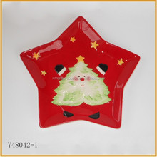 High quality star shaped red colored tree printing ceramic plate