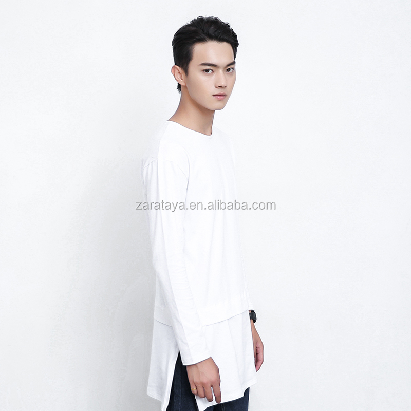 OEM Tall Tee Men's T-shirt with side slit Long Sleeve 100% Cotton casual t-shirts for men
