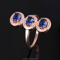 Three Stone Blue Diamond Ring,925 Silver Jewelry,Rose Gold Crystal Ring