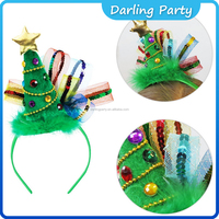 Christmas Tree Star Jewel Sequin Fascinator Fluffy Fashion Headbands