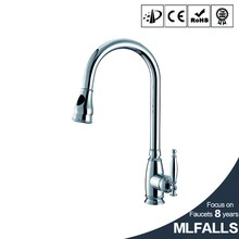 Chrome Finish Kitchen Basin Sink Faucet Spray Swivel One Handle Stainless Steel