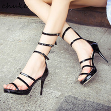 European Night Club Queen High Heels Sandals Women Solid Sexy Hollow Out Platform Shoes Gold Belt Buckle Thin Heel Sandal