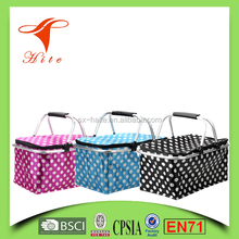 Collapsible aluminum cooler basket with Double Handles/ foldable Insulated picnic shopping storage basket bag