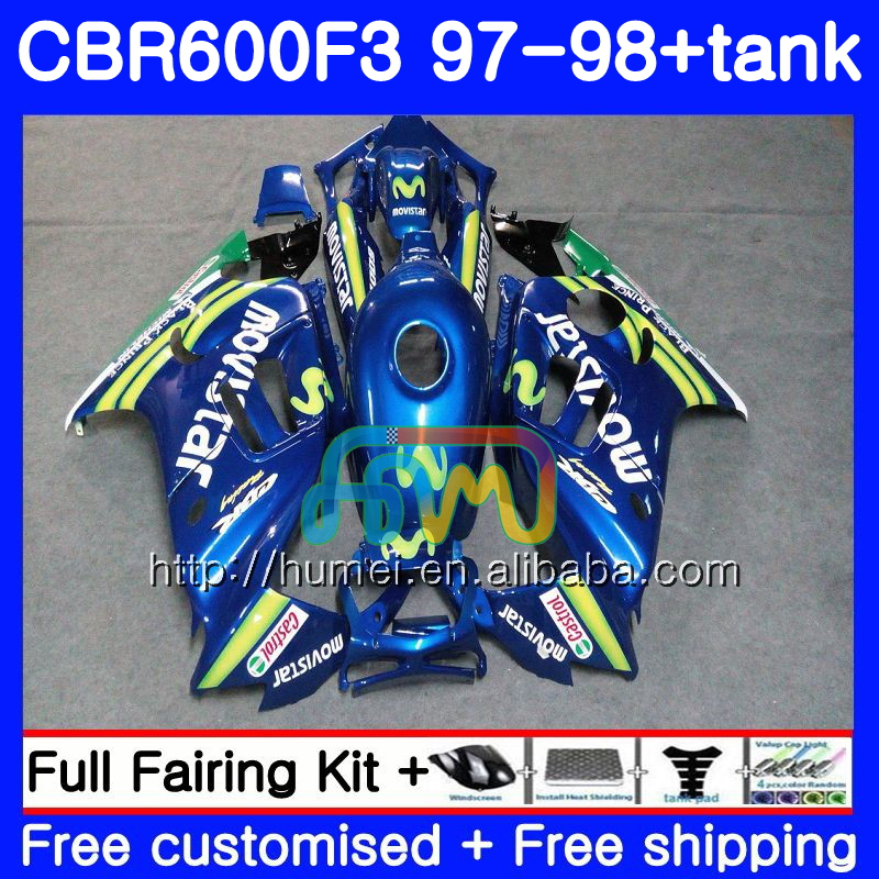 Body kit For HONDA CBR600RR F3 CBR 600F3 CBR600FS 14HM38 Movistar Blue CBR 600 F3 FS CBR600F3 97 98 CBR600 F3 1997 1998 Fairing