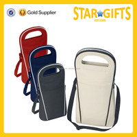 New design cooling type polyester insulated bottle wine cooler bag with shoulder strap