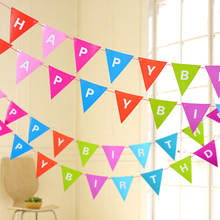12Pcs/lot 3m Catoon Colourful Triangles Flags Paper Garland Wedding Banner Photo Booth Props Birthday Party Supplies Decoration