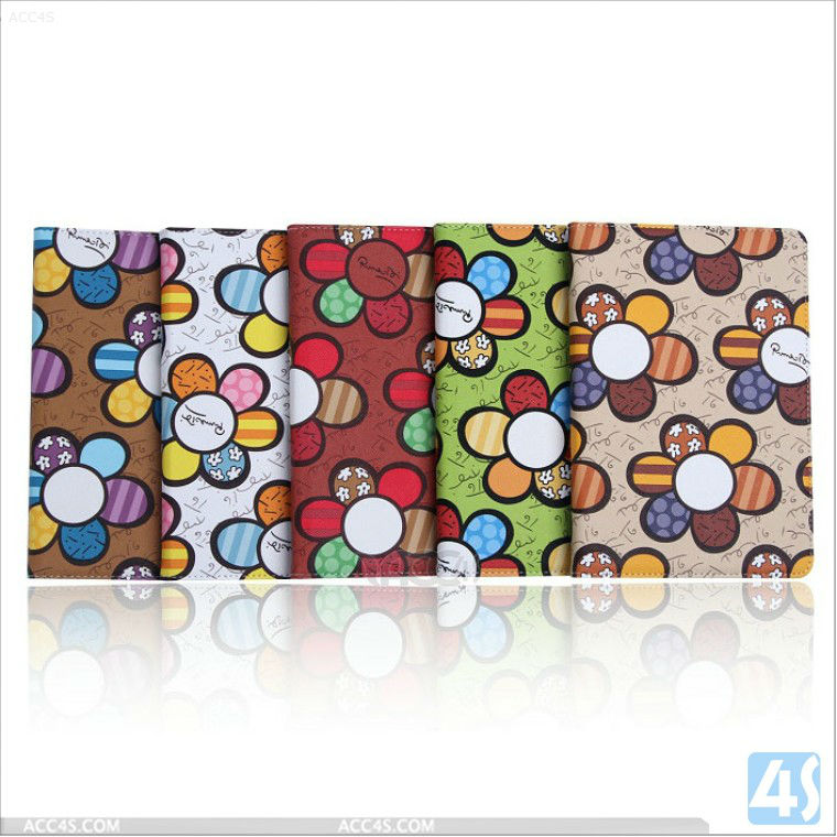 For iPad 2/3/4 Case Flower Pattern Leather Stand Case P-iPAD234CASE083