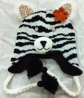 Cute and warm children's knitted cat animal winter hat with braids