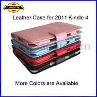 For NEW Kindle 4, Leather Case, More 4 Colors Available, High Quality, New Arrival, Laudtec