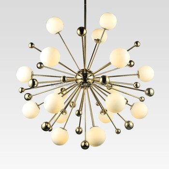 Modern LED chandelier with opal glass ball shade & bronze body