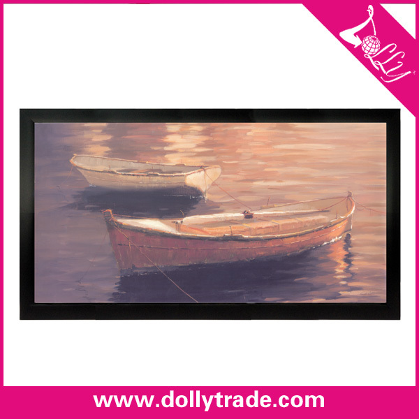 Newest Canvas Photo Frame Oil Paintings of Boats On Beach