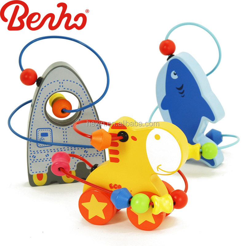 Wooden small animals beads wholesale factory children toy