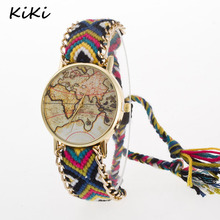 >>>Fashion Handmade Braided World Map Friendship Bracelet Watch Rope Ladies Quartz Watch