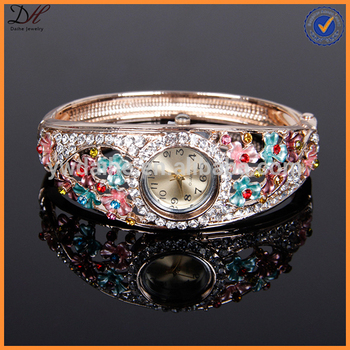 Daihe Colorful Enamel Flowers Watches For Women
