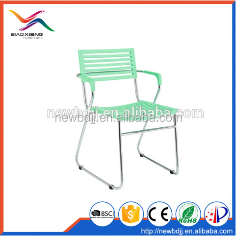 Green Cheap Stacking Office Plastic Chair With Armrest And Chromed Metal Leg