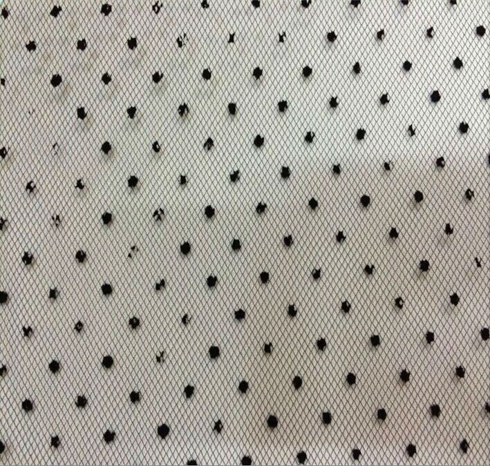 Stock polka dot fabric polyester flocking tulle for lady shirt dress fabric