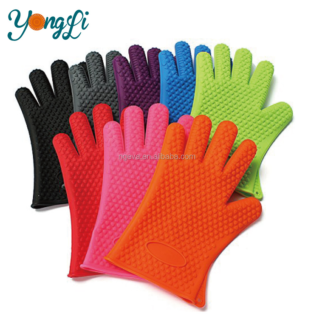 Amazon Top Selling Products Great for Kitchen Cooking Grilling Heat Resistant Silicone Gloves 5 Fingers Design BBQ Gloves