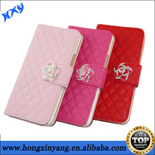 Beautiful flower button leather case for Samsung galaxy S4.