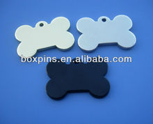 unique plain bone shape dog name tag maker (BOX-dog tag-0015)