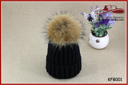 Black Winter Women Beanie Hat With Fur Ball On Top