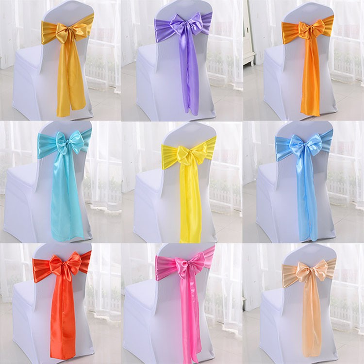 Guangzhou Wholesale Cheap Table Decoration Satin Fabric Wedding Chair Sashes