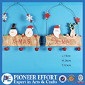 wooden christmas door hanging santa and snowman decoration with bell