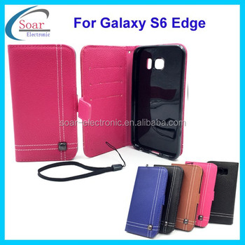 High quality PU notebook style case for Samsung galaxy S6 edge