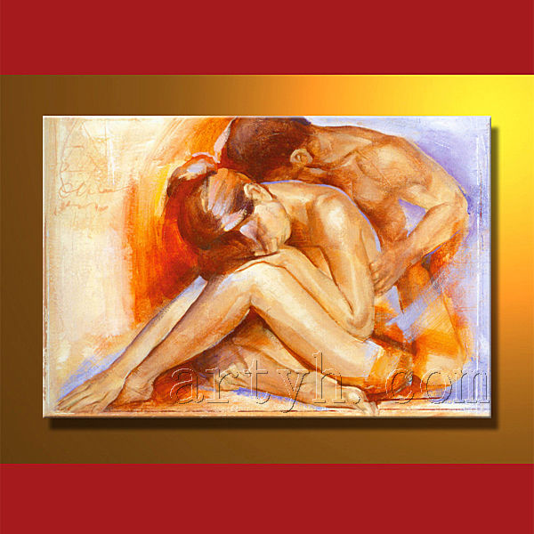 handmade man and woman sex oil painting of lover
