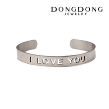 DD-B039 New fashion hollow I LOVE YOU design stainless steel bangle bracelet