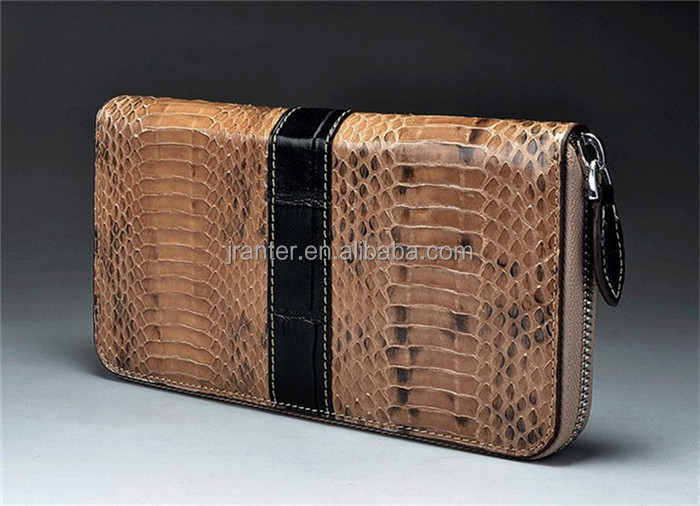 Custom Long Design Zipper Around Genuine Python Snakeskin Wallet for women Made in China