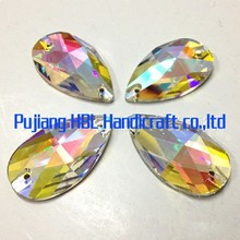 22*38mm 2Holes 1pc Fancy Glass Loose Crystal Stone