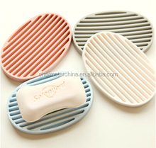 Oval Silicone Saver Tray Silicone Shower Soap Dish Soap Saver Holder with groove