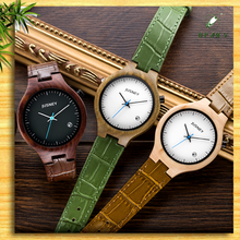 Hot selling wholesale wooden watch with leather, bamboo watch, Natural eco-friendly Handmade wristwatch