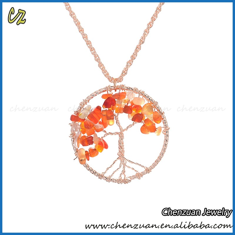 Tree of life pendant necklace style necklace with stone, natural stone bead necklace