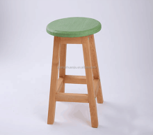 colorful round cheap solid wooden bar stools for sale