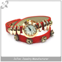 Red Leather Ladies Bracelet Wrist Watch For Promotional Gifts