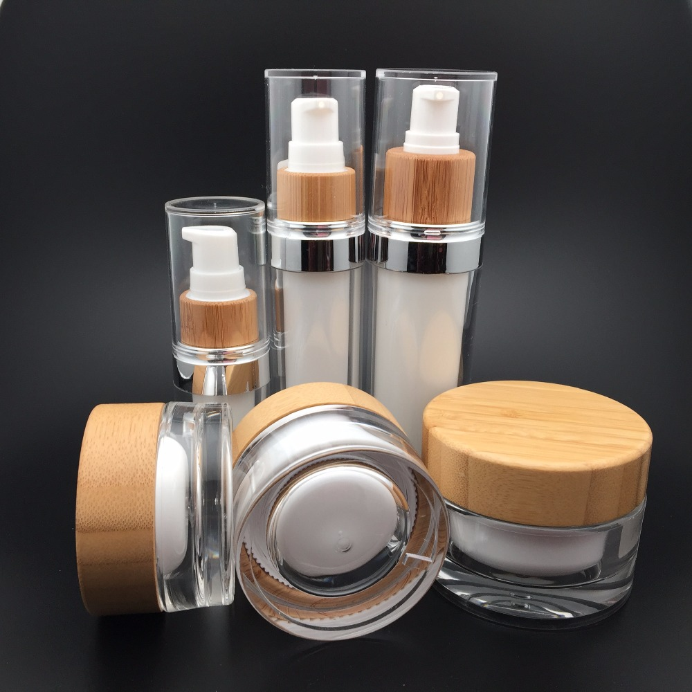 30g 50g bamboo cosmetic packaging bottles and jars