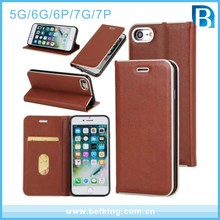 High quality metal frame flip leather cell phone case for iphone 5 6plus 7 7plus strong magnetic force
